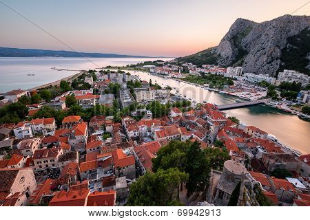 Aerial View on Omis Old Town and Cetina River Dalmatia Croatia poster