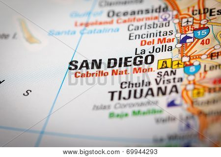 San Diego City On A Road Map