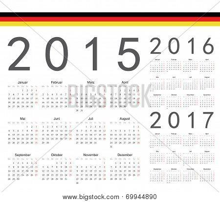 Set Of German 2015, 2016, 2017 Year Vector Calendars