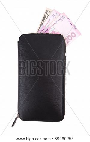 Black Purse With Dollars And Grivnas On White Background