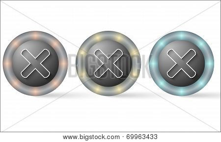 Set Of Three Icons With Ban Symbol