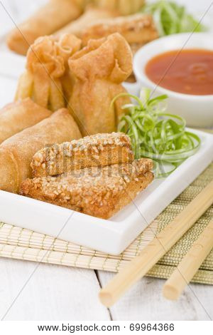 Asian Starters - Fried wontons, prawn toast and spring rolls. poster