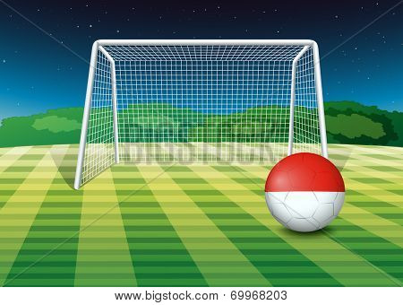 Illustration of a ball at the soccer field with the flag of Monaco