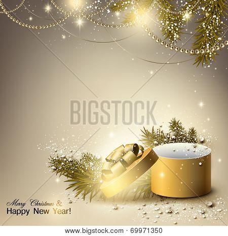 Christmas background with golden gift. Xmas box with bow and place for text.  Vector Illustration.