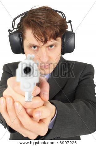 Businessman Aiming A Gun, On  White Background