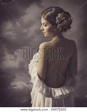 Woman Sensual Retro Portrait, Girl Naked Back, Elegant Artistic Vintage Style Makeup