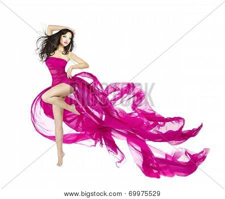 Woman Dancing In Fluttering Dress, Fashion Model Dancer With Waving Fabric, Isolated White Backgroun