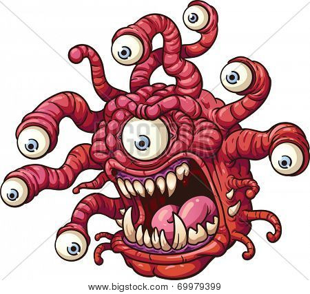 Beholder monster. Vector clip art illustration with simple gradients. All in a single layer.