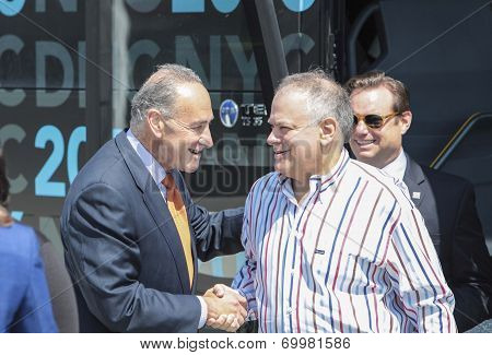 Charles Schumer greets Raymond Buckley