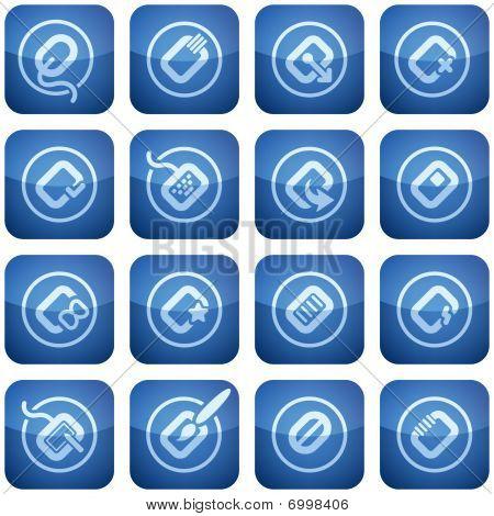 Cobalt Square 2D Icons Set: Computer Stuff