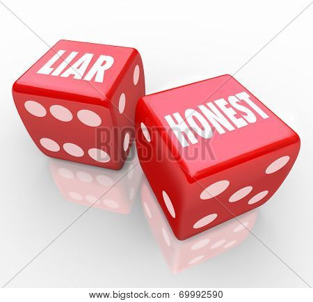 Honest and Liar words on two red dice opposite words difference between sincerity and deceit or dishonesty