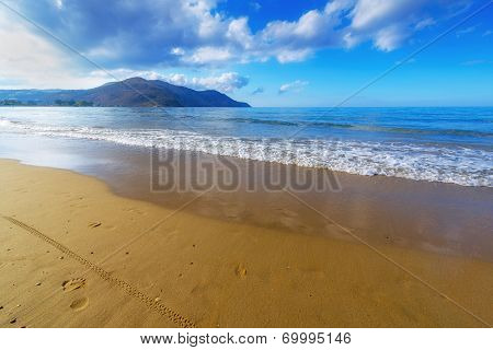 Sandy Beach With Blue Sky In Crete, Greece