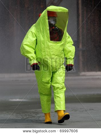 Rescuer With The Yellow Suit Against Biological Hazard From Contamination 2