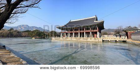 View Of Gyeonghoeru In Gyeongbok Palace In Seoul, Korea