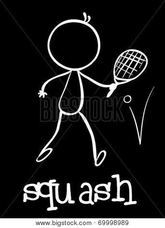 Illustration of a stickman playing squash