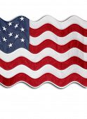Closeup of rippled American flag in front of white background poster