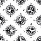 Seamless nautical icon pattern with old compass, suitable for nautical, geography and travel design poster