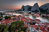 Aerial View on Omis and Cetina River Gorge in the Evening Dalmatia Croatia poster