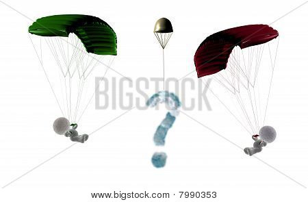 Sky meeting of two soft toy parachuters flying against each other, 3D Illustration on white background