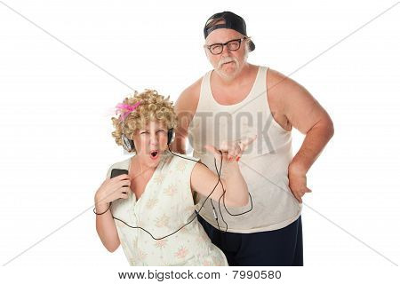 Hillbilly Wife Dancing with Annoyed Husband