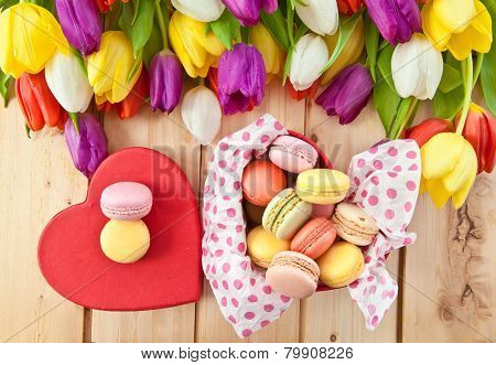French Macaroons In Heartshaped Box