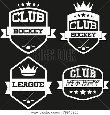Set of Vintage Ice Hockey Club Badge and Label