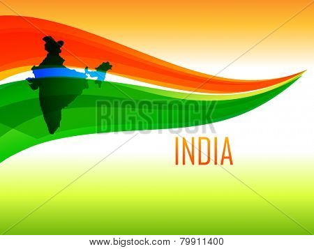 vector Indian flag design made in wave style with India map in tricolor background