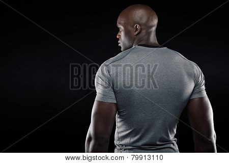 Afro American Fitness Model Looking At Copy Space