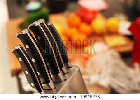 Food Preparation Background With Knifes