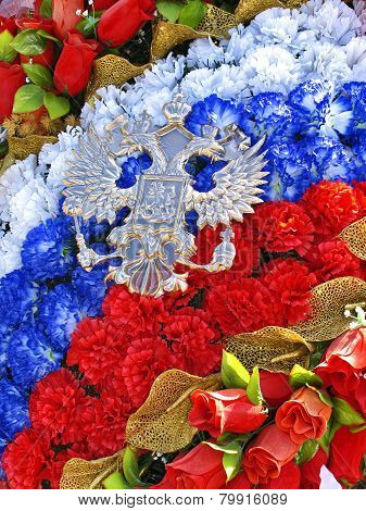 Wreath Of Artificial Roses In Tricolor And Emblem In Form Of Double-headed Eagle