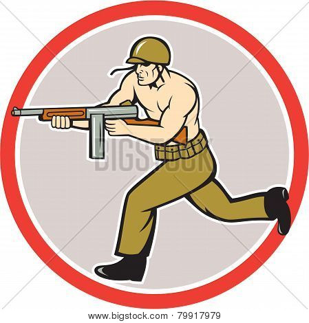 World War Two Soldier American Tommy Gun