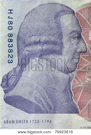 Adam Smith portrait on reverse of 20 pound sterling banknote. British currency