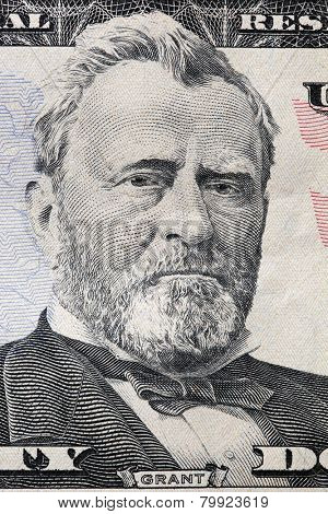 Ulysses S. Grant portrait on a twenty dollar bill. Close up. USD, American Dollar, The United States currency, money concept