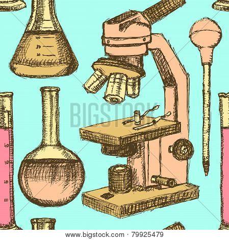 Sketch Scientific Equpment In Vintage Style