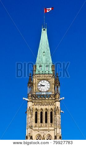 The Peace Tower On Parliament Hill In Ottawa, Canada