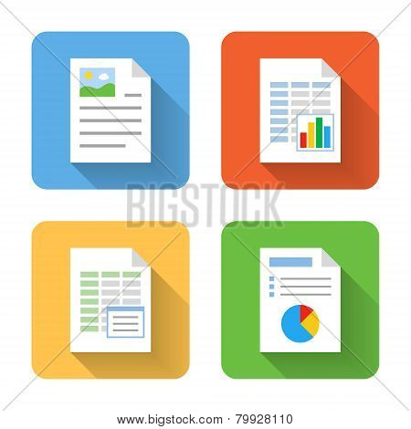 Flat Document Icons. Vector Illustration