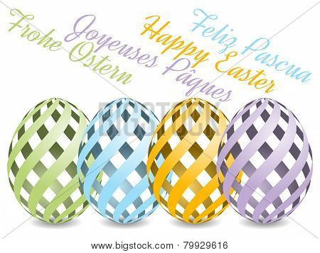 easter background with four languages