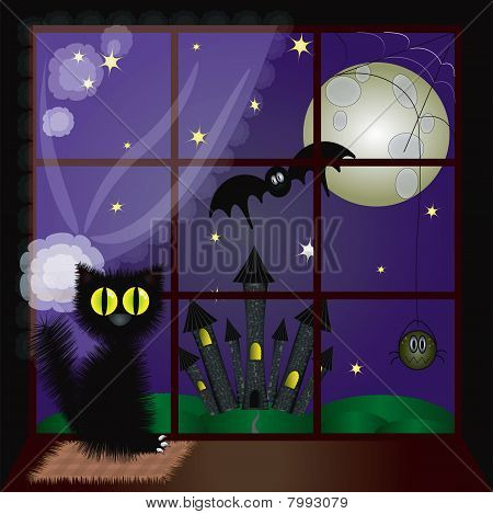 Halloween :window with cat ,and  night  backgrorund. poster