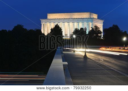 Washington DC - Abraham Lincoln Memorial from Arlington Memorial Bridge with car lights trails at night