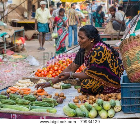 CHENNAI INDIA - FEBRUARY 10: An unidentified the woman sells vegetables on February 10 2013 in Chenn