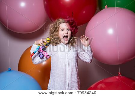 Fashionable Teen Girl In A White Dress With A Soft Toy In Hand Screaming Hysterically.