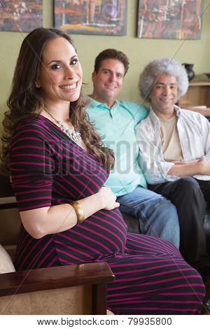 Pregnant Surrogate Woman With Parents