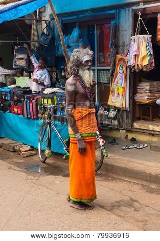 Thanjavour, India - February 14: An Unidentified Holy Sadhu Man With Traditional Painted Face At Str