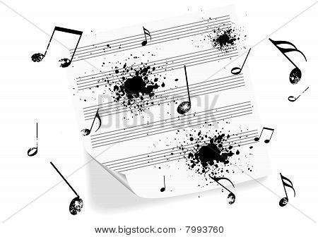 Illustration of a grunge music-sheet on white background