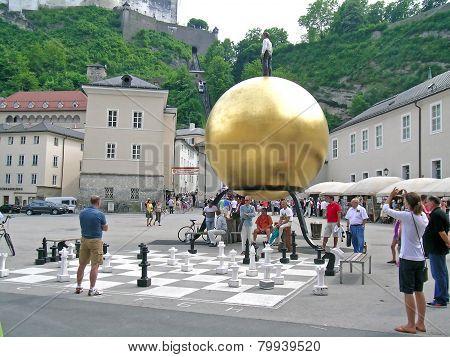 Chess game at Residenzplatz, Salzburg