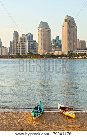 City of San Diego California USA kayaks on the beach