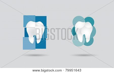 Dental practice dentistry network or dental services logo set