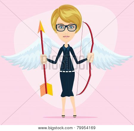 Beautiful girl in a cupid suit with wings, bow and arrow