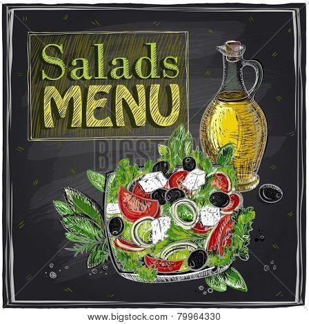 Salads menu chalkboard  design with Greek salad.