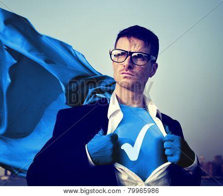 Check Mark Strong Superhero Success Professional Empowerment Stock Concept